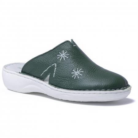 Papuci piele naturala Medline, 298 Verde [0]