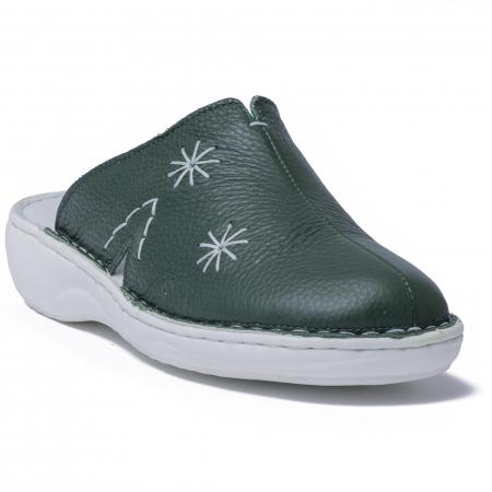 Papuci piele naturala Medline, 298 Verde [2]
