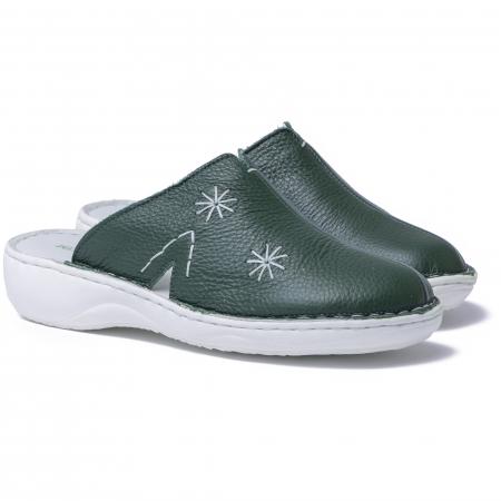 Papuci piele naturala Medline, 298 Verde [1]