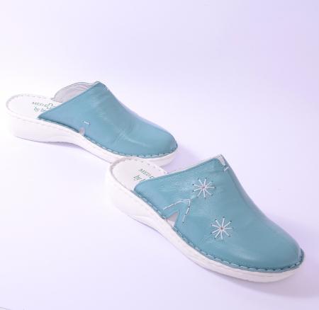 Papuci piele naturala Medline, 298 Aqua [1]