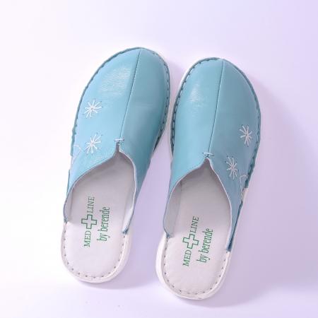 Papuci piele naturala Medline, 298 Aqua [2]