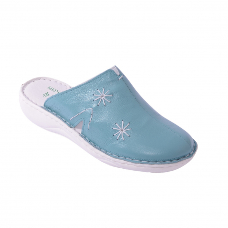 Papuci piele naturala Medline, 298 Aqua [0]