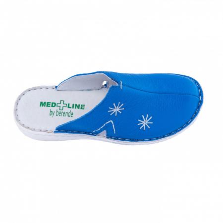 Saboti de piele naturala Medline, Albastrii 2982