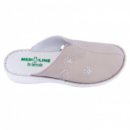 Saboti de piele naturala Medline, Bej 2981