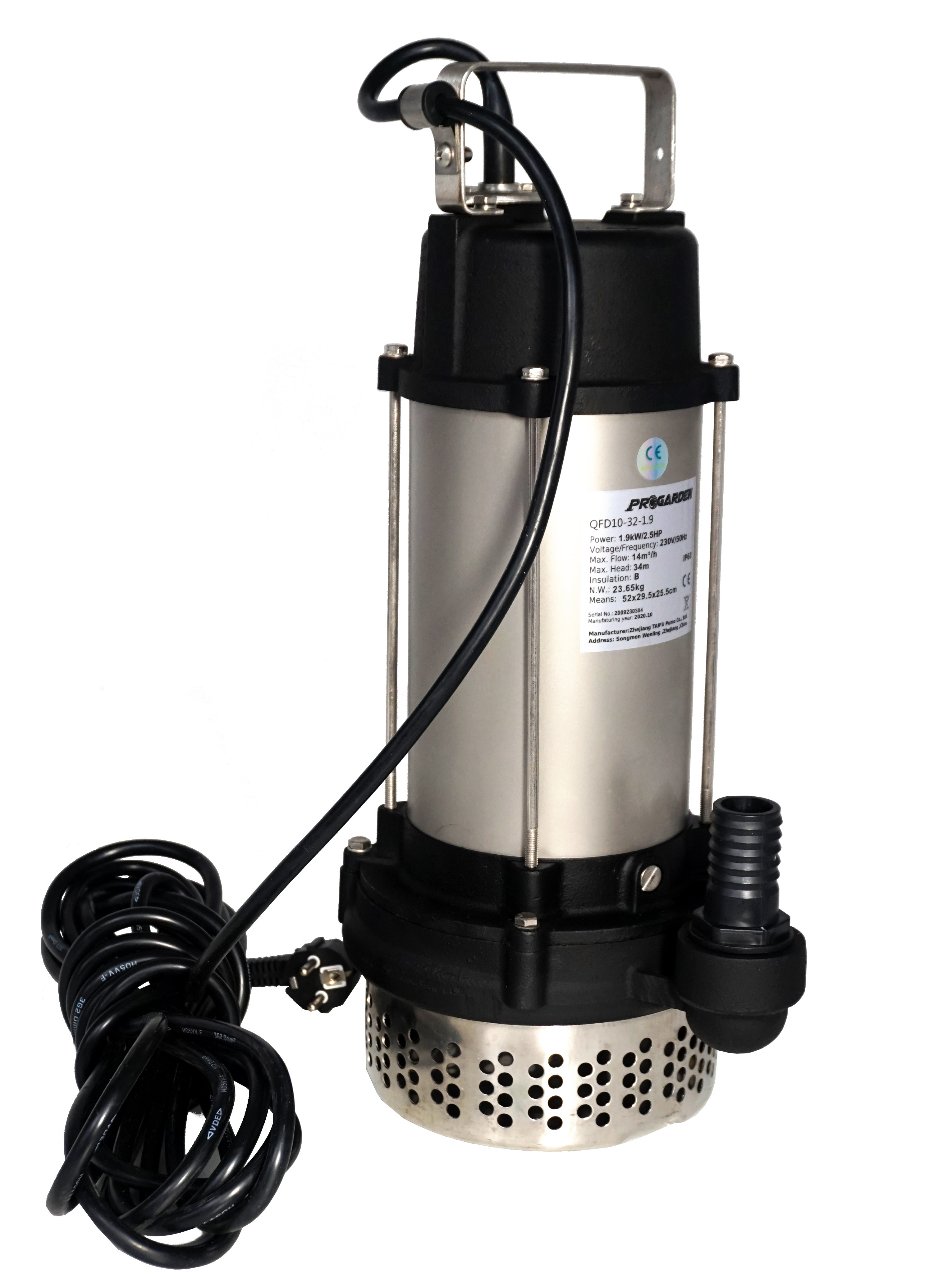 "ProGARDEN QFD10-32-1.9 Pompa submersibila 1.25"", 1.9kW, apa murdara, 230L/min, 32m [0]"