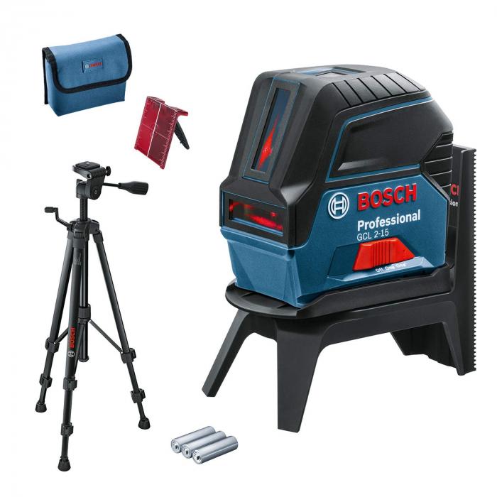 Bosch GCL 2-15 Professional + BT 150 Nivela laser cu puncte si linii, 15m, precizie 0.3mm/m 0