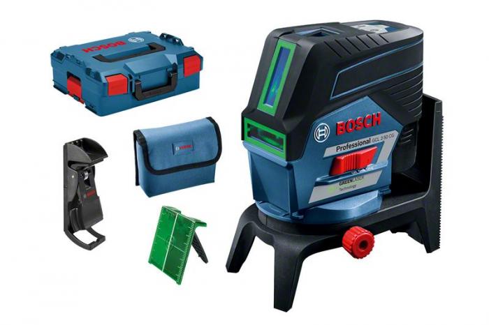 Bosch GCL 2-50 CG + RM 2 + BM 3 (solo) Nivela laser verde cu linii (20 m) cu Bluetooth + Suport professional + Clema pentru tavan + L-Boxx [1]