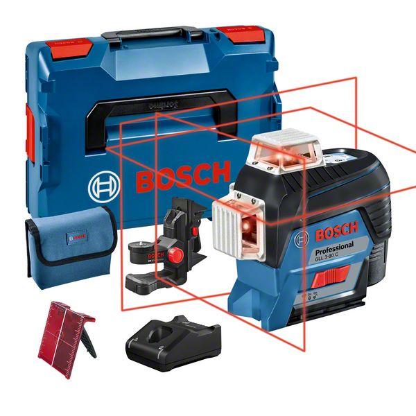 Bosch GLL 3-80 C + BM 1 Nivela laser cu linii, 30m, receptor 120m, precizie 0.2mm/m + 1 x Acumulator GBA 12V 2.0Ah + Incarcator rapid GAL 1230 CV + L-Boxx 136 [0]