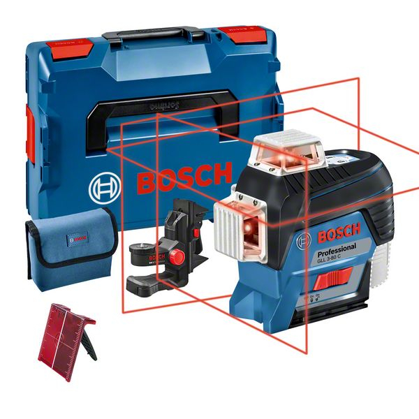 Bosch GLL 3-80 C Nivela laser cu linii, 30m, receptor 120m, precizie 0.2mm/m + BM1 + L-Boxx [1]