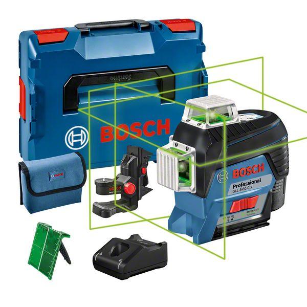 Bosch GLL 3-80 CG + BM1 Nivela laser cu linii, 30m, receptor 120m, precizie 0.2mm/m + 1 x Acumulator GBA 12V 2.0Ah + Incarcator rapid GAL 1230 CV + L-Boxx 136 0