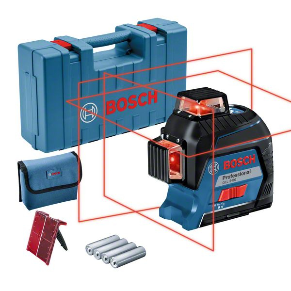 Bosch GLL 3-80 Nivela laser cu linii, 30m, receptor 120m, precizie 0.3 mm/m [0]