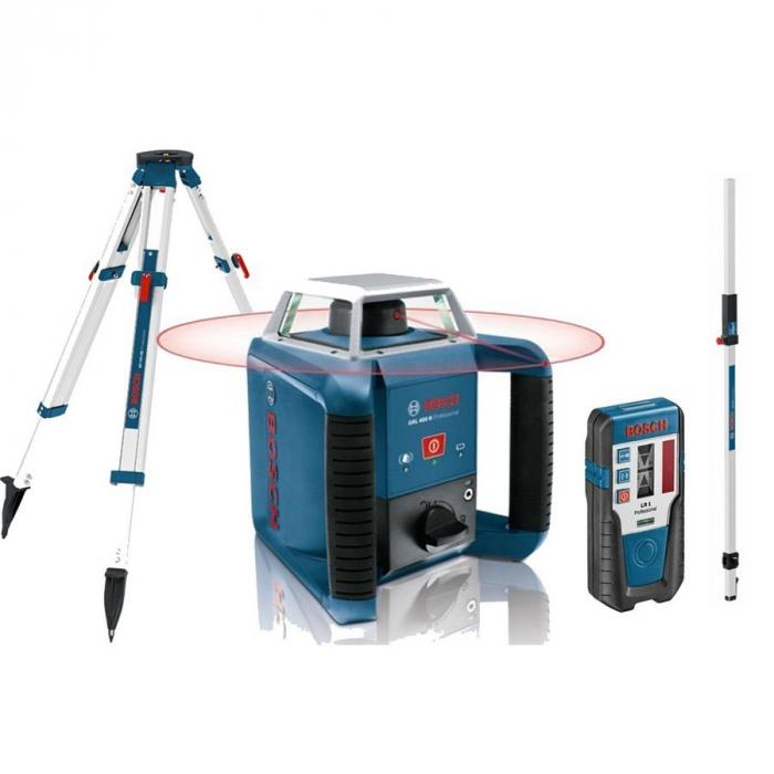 Bosch GRL 400 H + BT170HD + GR240 Nivela laser rotativa, 20m, receptor 400m, precizie 0.08 mm/m [0]