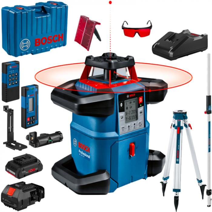 Bosch GRL 600 CHV + BT 170 HD + GR 240 Nivela laser rotativa, 60m, receptor 600m, precizie 0.05mm/m orizontal, 0.1mm/m vertical 0
