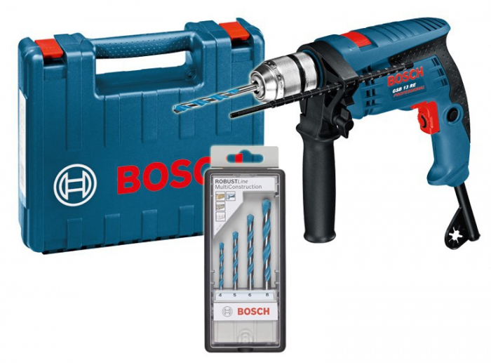 Bosch GSB 13 RE Masina de gaurit cu percutie, 600W + Set de 4 burghie MultiConstruction in cutie 0