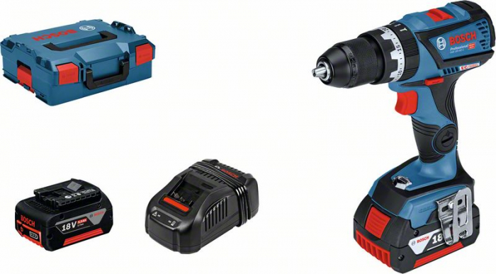 Bosch GSB 18V-60C Masina de gaurit cu percutie cu acumulator, 18V + 2 x Acumulatori GBA 18V 5.0Ah + Incarcator rapid GAL 1880 CV + L-Boxx 0