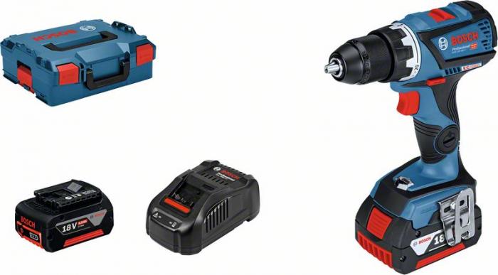 Bosch GSR 18V-60 C Masina de gaurit si insurubat cu acumulator + 2 x Acumulatori GBA 18V 5.0Ah + Incarcator GAL 1880 CV + L-Boxx 0