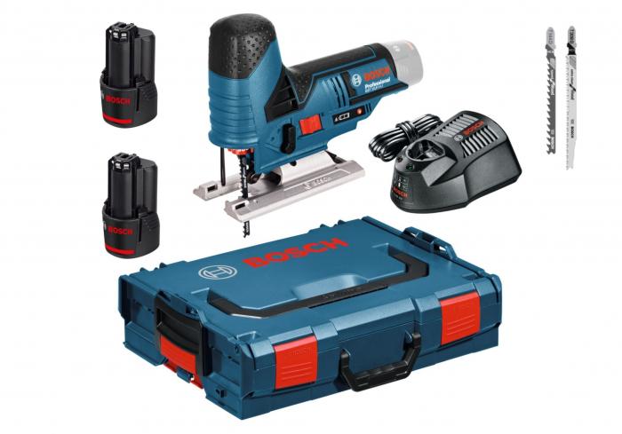 Bosch GST 10.8 V-LI Ferastrau vertical cu acumulator 10.8V, 70mm + 2 x Acumulatori 2.0Ah + Incarcator + L-Boxx [0]