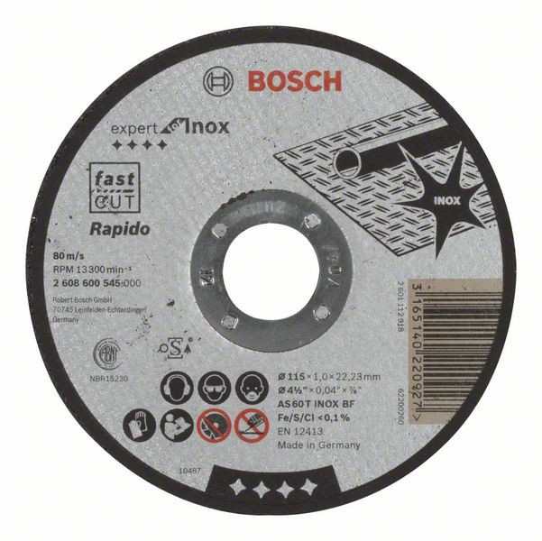 Disc de taiere drept Expert for Inox - Rapido AS 60 T INOX BF, 115mm, 1,0mm [0]