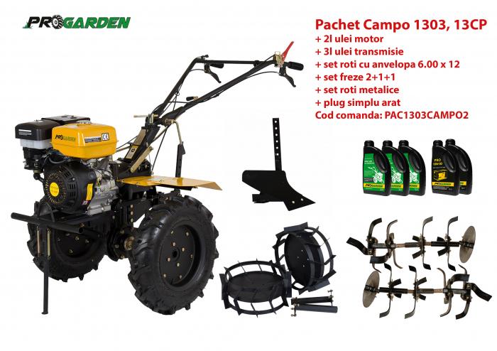 Pachet motocultor Campo 1303, benzina, 13CP, 2+1 trepte, accesorii, ulei motor si transmisie incluse 0
