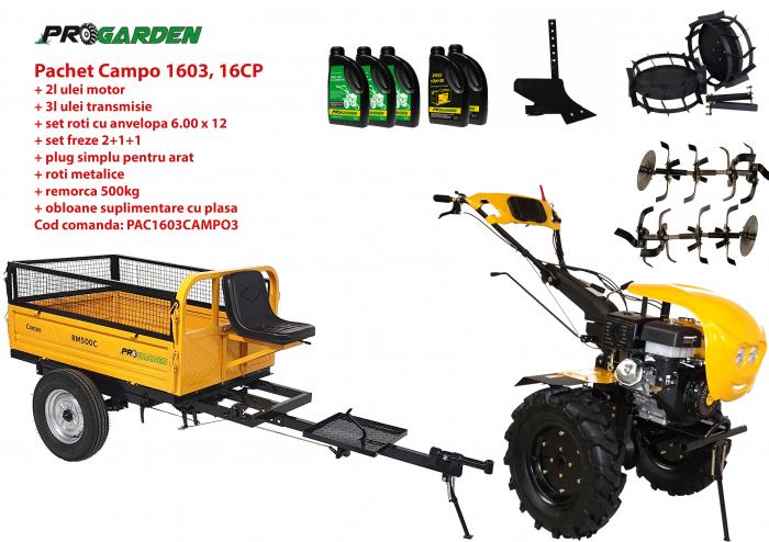 Pachet motocultor Campo 1603, benzina, 16CP, 2+1 trepte, remorca 500kg, accesorii, ulei motor si transmisie incluse 0