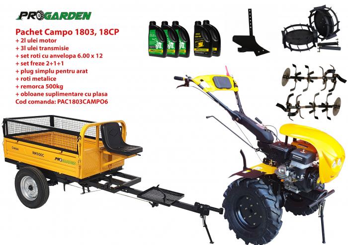 Pachet motocultor Campo 1803, benzina, EURO5, 18CP, 2+1 trepte, remorca 500kg, accesorii, ulei motor si transmisie incluse 0