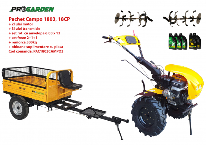 Pachet motocultor Campo 1803, benzina, EURO5, 18CP, 2+1 trepte, remorca 500kg, ulei motor si transmisie incluse 0