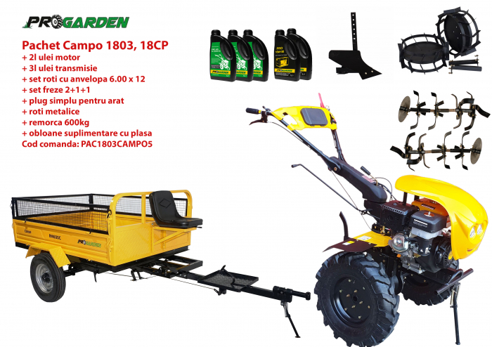Pachet motocultor Campo 1803, benzina, EURO5, 18CP, 2+1 trepte, remorca 600kg, accesorii, ulei motor si transmisie incluse 0