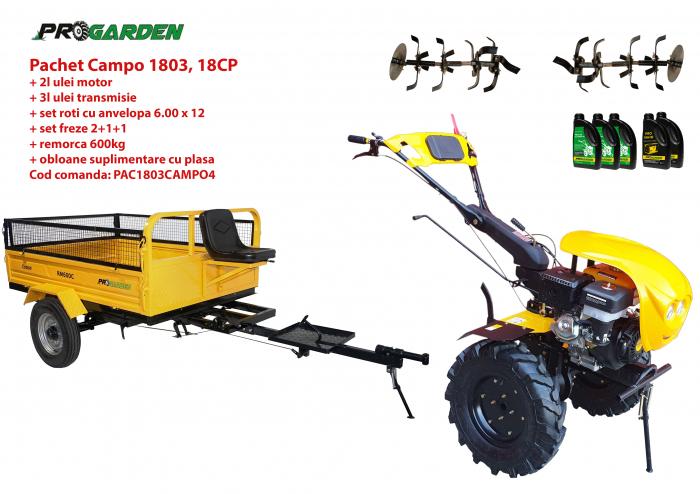 Pachet motocultor Campo 1803, benzina, EURO5, 18CP, 2+1 trepte, remorca 600kg ulei motor si transmisie incluse [0]