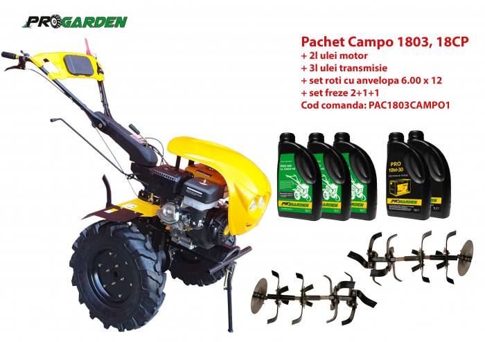 Pachet motocultor Campo 1803, benzina, EURO5, 18CP, 2+1 trepte, ulei motor si transmisie incluse [0]