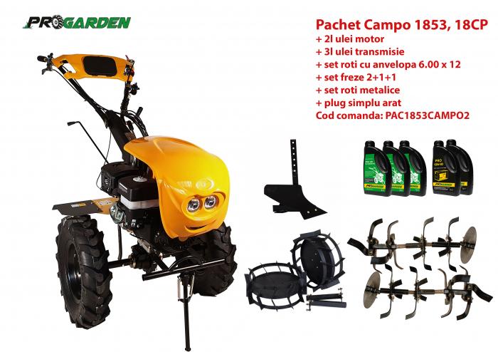 Pachet motocultor Campo 1853, benzina, EURO5, 18CP, 2+1 trepte, accesorii, ulei motor si transmisie incluse [0]