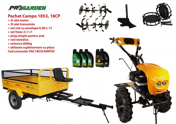 Pachet motocultor Campo 1853, benzina, EURO5, 18CP, 2+1 trepte, remorca 600kg, accesorii, ulei motor si transmisie incluse 0