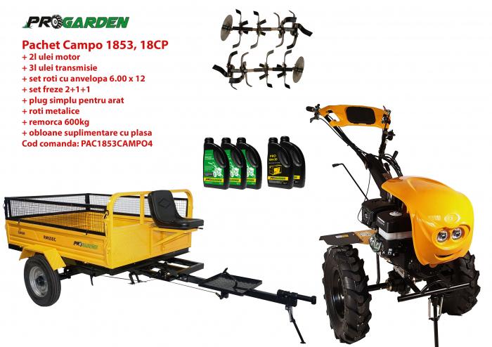 Pachet motocultor Campo 1853, benzina, EURO5, 18CP, 2+1 trepte, remorca 600kg ulei motor si transmisie incluse 0