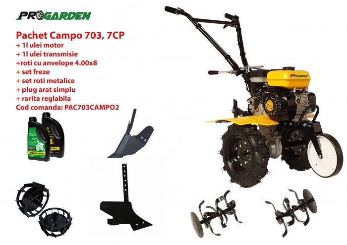 Pachet motocultor Campo 703, benzina, 7CP, 2+1 trepte, 2+1 freze, accesorii PS1, ulei motor si transmisie incluse 0