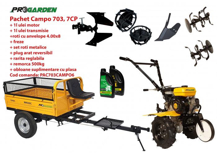 Pachet motocultor Campo 703, benzina, 7CP, 2+1 trepte, 2+1 freze, remorca 500kg, accesorii PR2, ulei motor si transmisie incluse 0