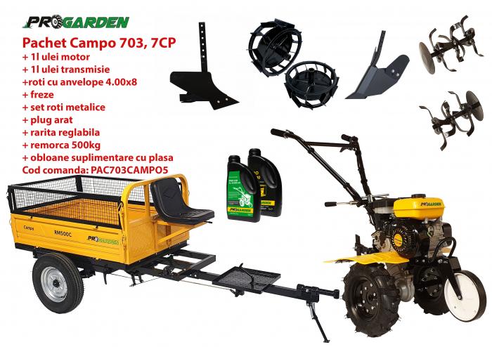 Pachet motocultor Campo 703, benzina, 7CP, 2+1 trepte, 2+1 freze, remorca 500kg, accesorii PS1, ulei motor si transmisie incluse 0
