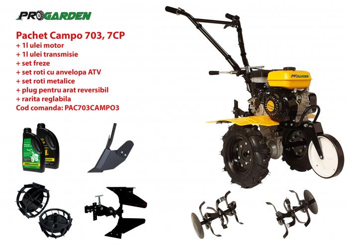 Pachet motocultor Campo 753, benzina, 7CP, 2+1 trepte, roti ATV, accesorii PR2, ulei motor si transmisie incluse 0