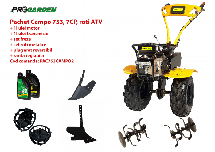 Pachet motocultor Campo 753, benzina, 7CP, 2+1 trepte, roti ATV, accesorii PS1, ulei motor si transmisie incluse 0