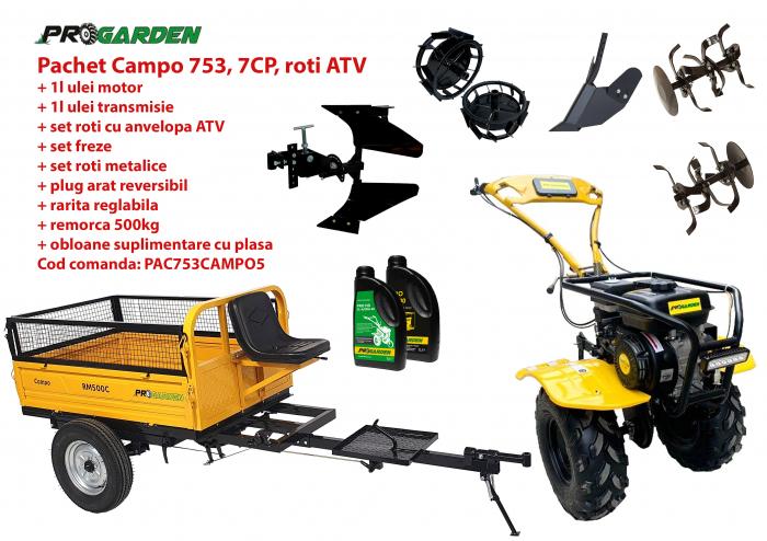 Pachet motocultor Campo 753, benzina, 7CP, 2+1 trepte, roti ATV, remorca 500kg, accesorii PR2, ulei motor si transmisie incluse 0
