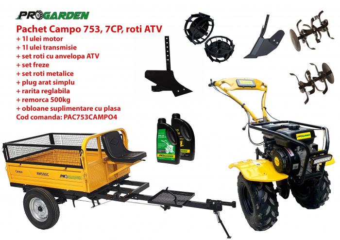 Pachet motocultor Campo 753, benzina, 7CP, 2+1 trepte, roti ATV, remorca 500kg, accesorii PS1, ulei motor si transmisie incluse 0