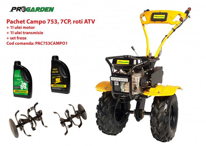 Pachet motocultor Campo 753, benzina, 7CP, 2+1 trepte, roti ATV, ulei motor si transmisie incluse 0
