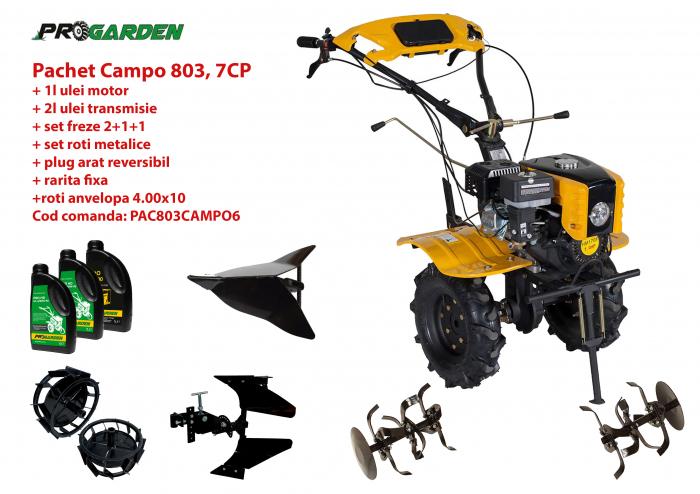 Pachet motocultor Campo 803, benzina, 7CP, 2+1 trepte, 2+1+1 freze, plug bilonat, accesorii PR2, ulei motor si transmisie incluse [0]