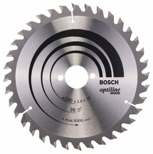 Panza de ferastrau circular Optiline Wood 190x30x2,6mm, 36 [0]