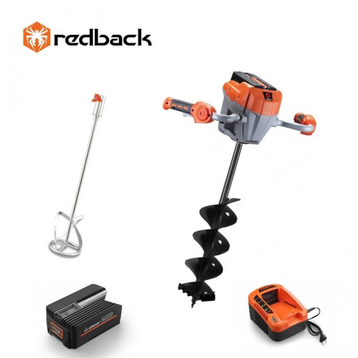 Redback Pachet E808T+E805C+E806C+EP20+EC20 Cap motor antrenare, paleta 120mm, burghiu 150mm, acumulator 40V/2Ah, incarcator 40V/1A 0
