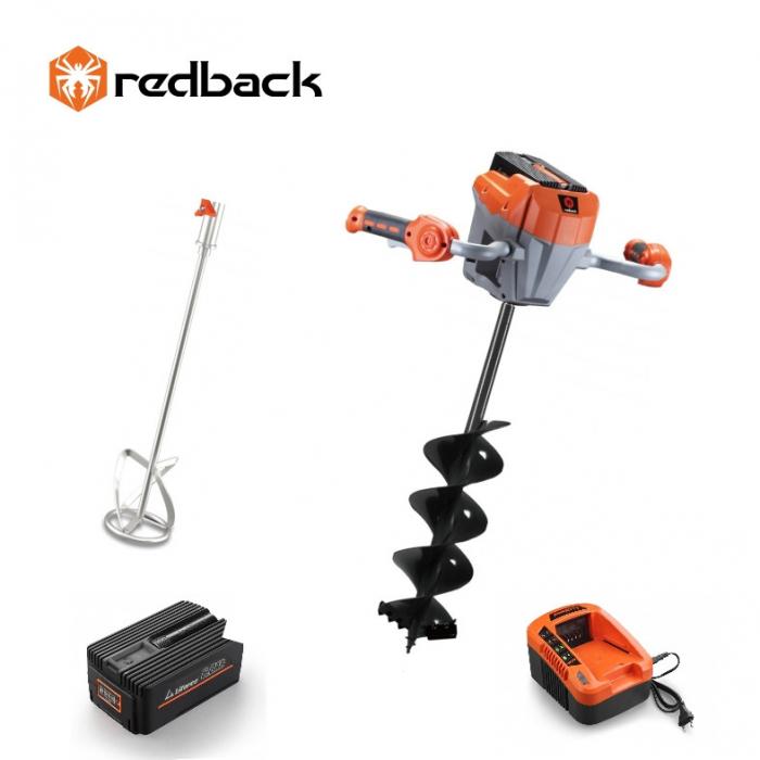Redback Pachet E808T+E805C+E806C+EP60+EC50 Cap motor antrenare, paleta 120mm, burghiu 150mm, acumulator 40V/6Ah, incarcator 40V/5A 0