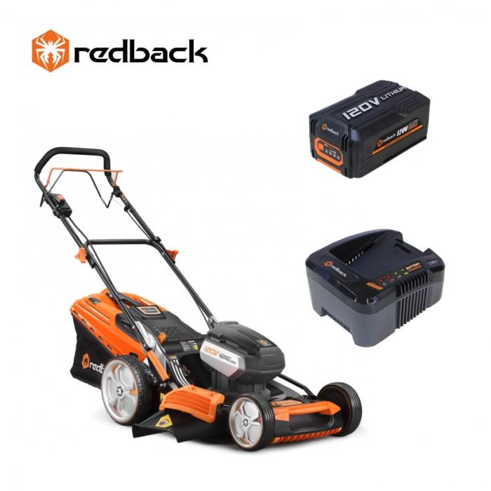 Redback Pachet EA156V+EA20+EC130 Masina de tuns gazon acumulatori 120V, 520mm, 60L, autopropulsie, acumulator 120V/2Ah, incarcator 120V/1A [0]