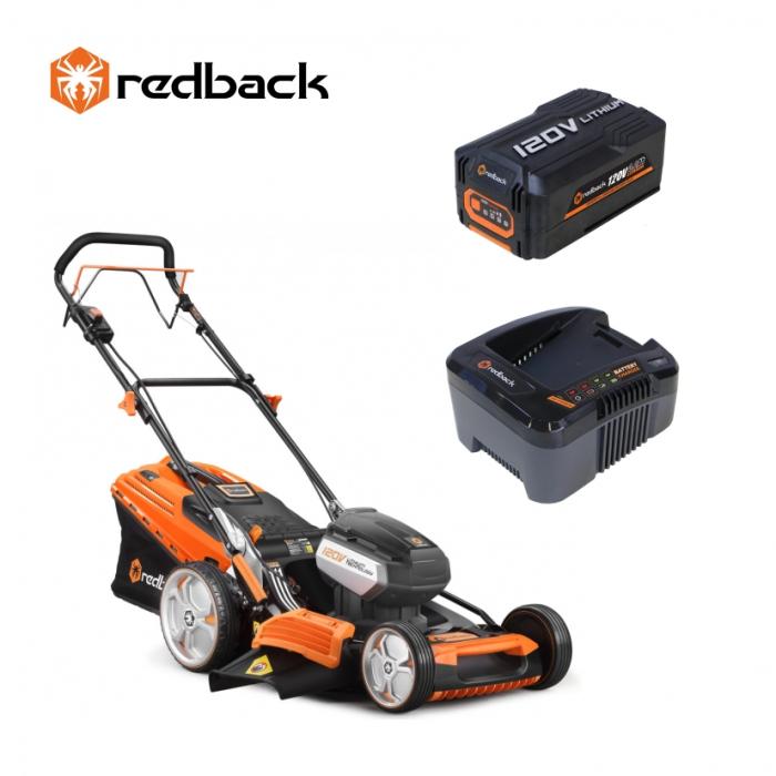Redback Pachet EA156V+EA30+EC440 Masina de tuns gazon acumulatori 120V, 520mm, 60L, autopropulsie, acumulator 120V/3Ah, incarcator 120V/3.5A [0]
