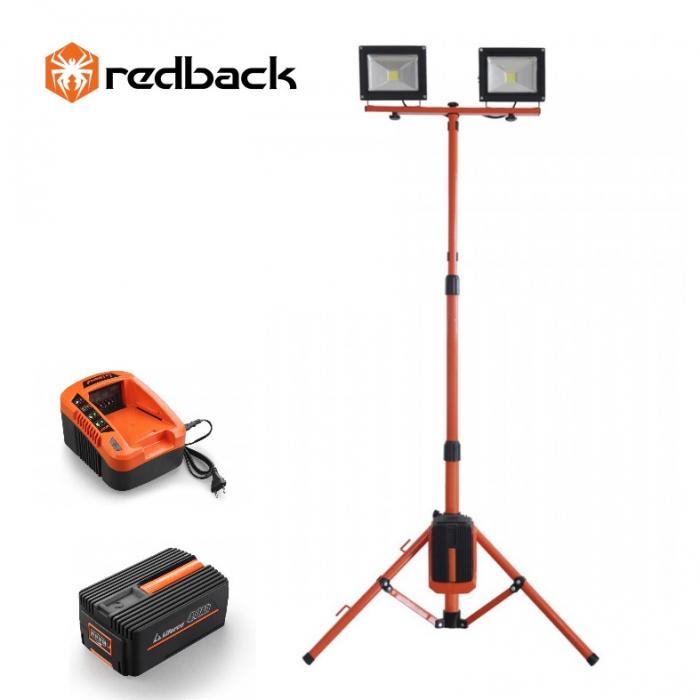 Redback Pachet ED40+EP40+EC20 Stand proiectoare LED, 2x20W ,acumulator 40V/4Ah, incarcator 40V/2A 0