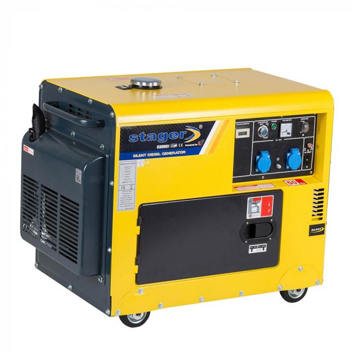 Stager DG 5500S+ATS Generator insonorizat diesel 4.2kW, monofazat, 3000 rpm, cu automatizare [0]