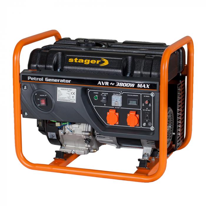 Stager GG 4600 generator open-frame 3.8kW, monofazat, benzina, pornire la sfoara [1]