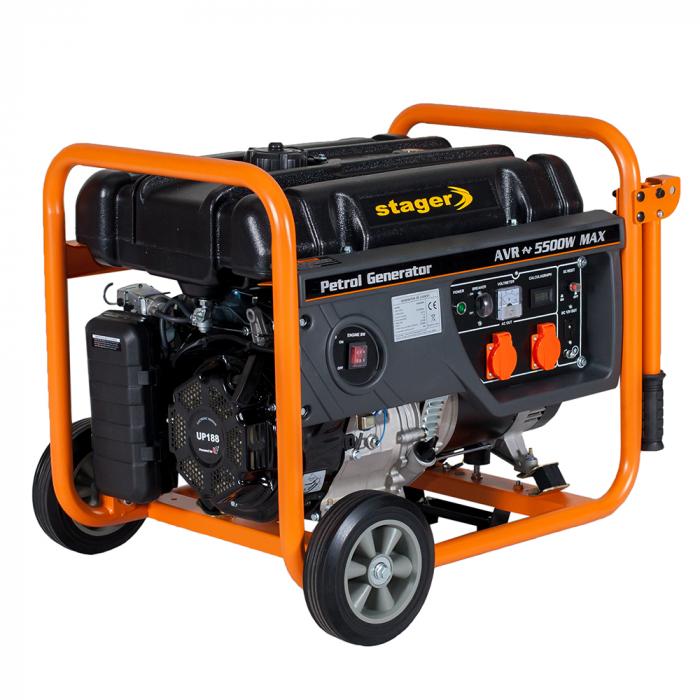 Stager GG 6300W generator open-frame 5kW, monofazat, benzina, pornire la sfoara [0]